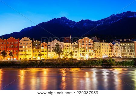 Innsbruck Embankment With Beauty Houses At The Inn River. Innsbruck Is The Capital City Of Tyrol In