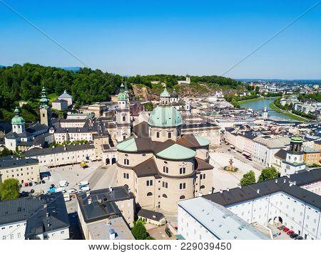 Salzburg Cathedral Aerial Panoramic View, Austria. Salzburg Literally Salt Fortress Or Salt Castle I