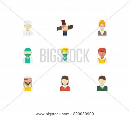 Occupation Icons Set With Chef, Indian Worker And Doctor Elements. Set Of Occupation Icons Also Incl