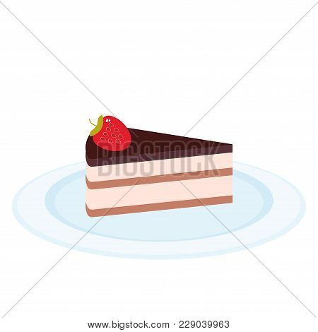 Sweet Cake Decorated With Fresh Strawberry, Pink Cream And Chocolate Icing, Piece Of Cake On The Blu