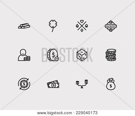 Gambling Icons Set With Jackpot, Cash Money And Gamble Risk Elements. Set Of Gambling Icons Also Inc
