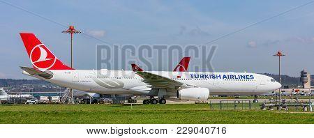 Kloten, Switzerland - 29 March, 2017: Airbus A330-300 Airplane Of The Turkish Airlines At The Zurich