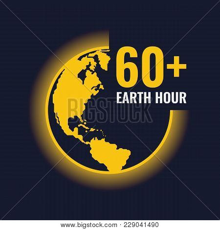 Yellow Earth World And Light Sign And Earth Hour 60+  Text Vector Design