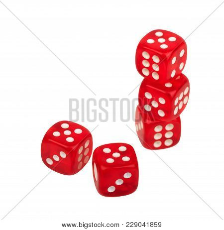 Group Of Red Dice Dice With Dots Isolated On White Background, Casino, Gambling, Board Game, Table G