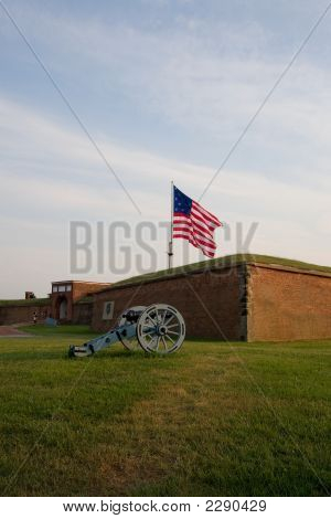 American Flag Over Fort