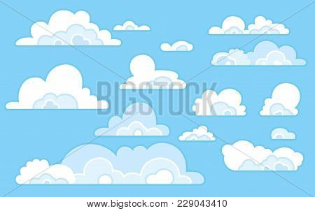 Сartoon blue sky with clouds on the shiny day. Silhouette of white fluffy clouds isolated on blue background. Vector set
