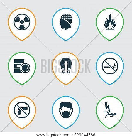 Safety Icons Set With No Smoking, Flammable, Headwear And Other No Weapon Elements. Isolated Vector