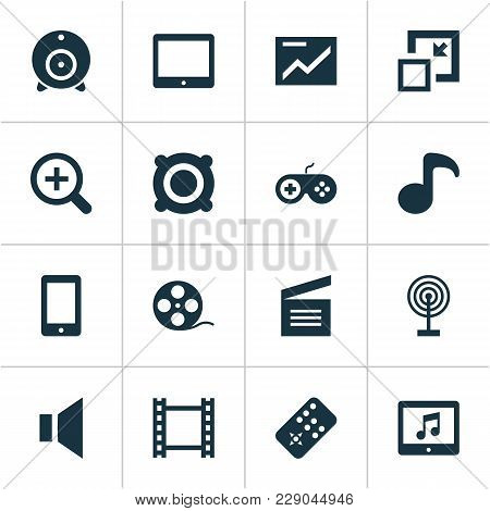 Media Icons Set With Mute, Musical Note, Movie Clap And Other Gamepad Elements. Isolated Vector Illu