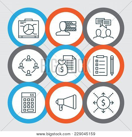 Management Icons Set With Cash Flow, Team Meeting, Personality And Other Reminder Elements. Isolated