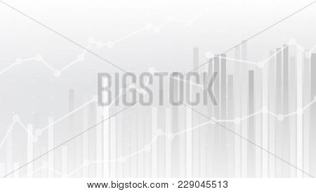 White Abstract Simple Uptrend Financial Chart Background. Eps10 Vector