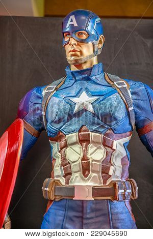 Tokyo, Japan - April 20, 2017: Portrait Of Captain America Model From Age Of Heroes Movie At Mori To
