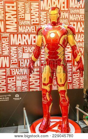Tokyo, Japan - April 20, 2017: Iron Man Model From Age Of Heroes Movie At Mori Tower, Roppongi Hills