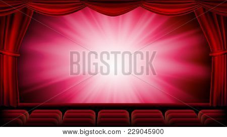 Red Theater Curtain Vector. Red Background. Theater, Opera Or Cinema Closed Scene. Banner, Placard,