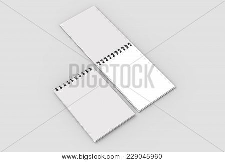 Spiral Binder Notebook Mock Up Isolated On Soft Gray Background. 3D Illustrating.