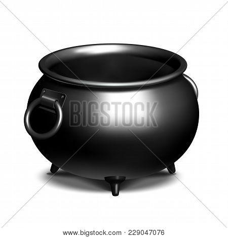 Vintage Empty Black Iron Cauldron Isolated On White. Vector Illustration