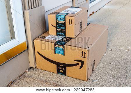 Indianapolis - Circa February 2018: Amazon Prime Parcel Package. Amazon.com Is A Premier Online Reta