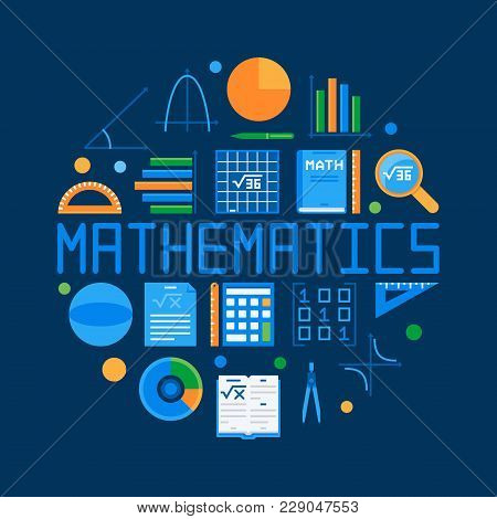 Mathematics Circular Flat Illustration. Vector Math Round Symbol On Dark Background
