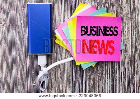 Business News. Business Concept For Modern Online News Written On Sticky Note With Copy Space On Old