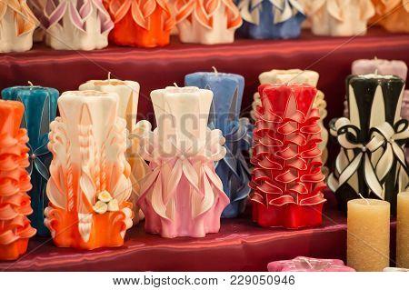 Candles On Shelf In Decoration Shop. Decor, Design, Craft, Decoration Shop. Wick, Paraffin Or Wax Od