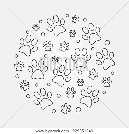 Dog Footprints Round Vector Outline Illustration
