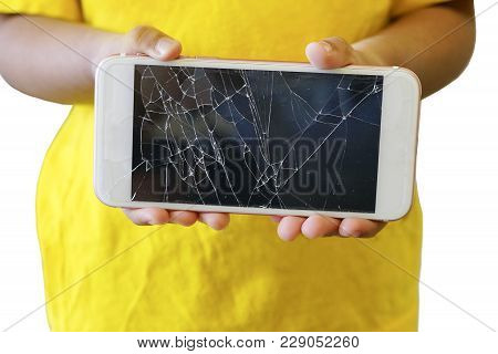 Kids Holding A Crack Smartphone Isolated On White Background.