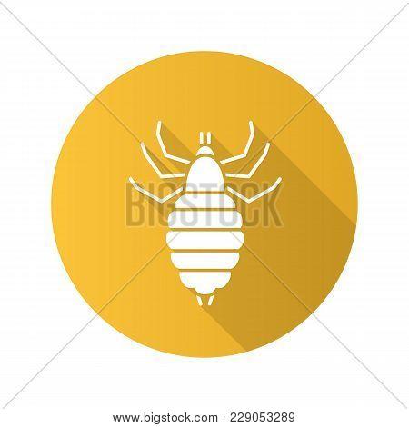 Louse Flat Design Long Shadow Glyph Icon. Human Parasite. Vector Silhouette Illustration