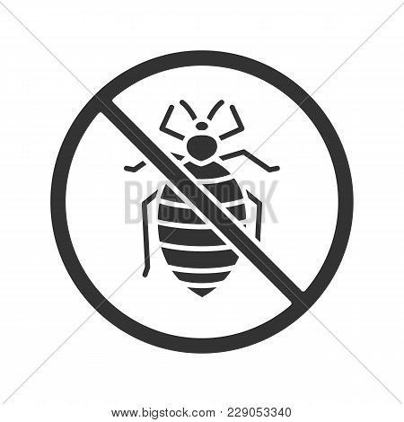 Stop Bed Bug Sign Glyph Icon. Parasitic Insects Repellent. Pest Control. Silhouette Symbol. Negative