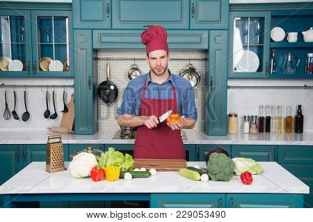 Vegetarian, Health, Diet, Vitamin. Man Chef Cook With Knife In Kitchen, Cuisine. Vegetables And Tool