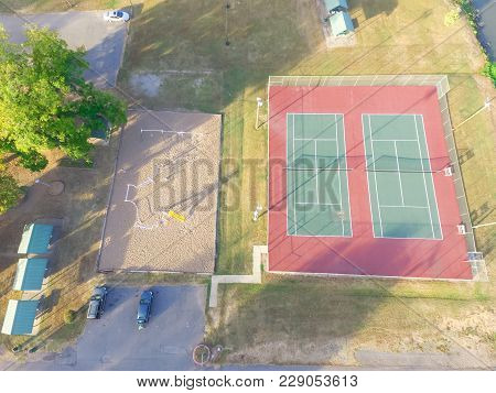 Aerial Tennis Court At Public Park In Ozark, Arkansas, Usa