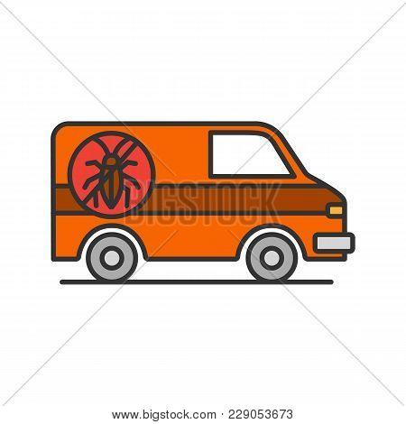 Exterminator Mini Bus Car Color Icon. Pest Control Service. Isolated Vector Illustration