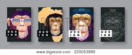 Monkey Abstract Covers Set. Card Monkey Template. Future Poster Template. Polygonal Halftone. Monkey