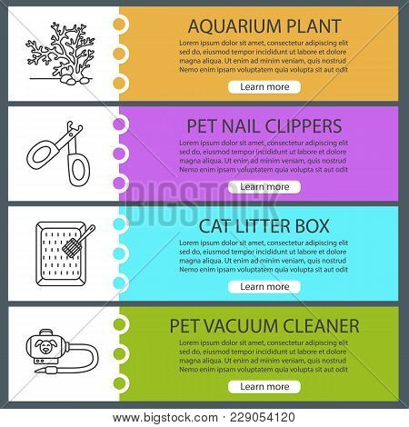 Pets Supplies Web Banner Templates Set. Aquarium Plant, Nail Clippers, Cat Litter Box, Vacuum Cleane