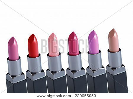 Lipstick. Fashion Colorful Lipsticks Over White Background. Lipstick Tints Palette, Professional Mak