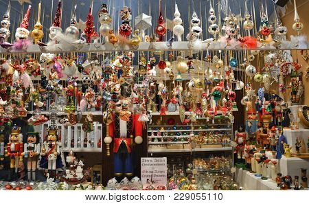 Beautiful Christmas Glass Ornaments Sell On Christmas Market In Munich, Germany