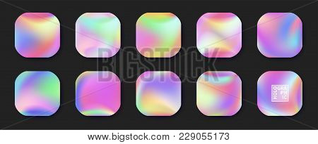 Holographic Vector Background. Iridescent Foil. Glitch Hologram. Pastel Neon Rainbow. Ultraviolet Me