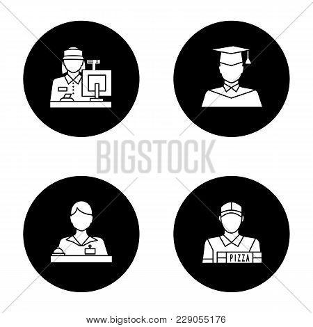 Professions Glyph Icons Set. Occupations. Receptionist, Secretary, Cashier, Pizza Deliveryman, Gradu