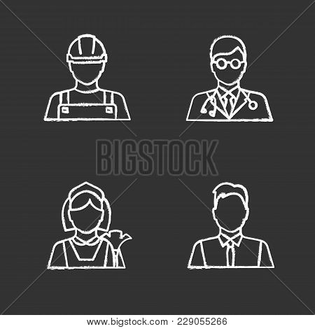 Professions Chalk Icons Set. Occupations. Builder, Doctor, Maid, Showman, Office Worker. Isolated Ve
