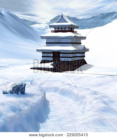 3d Render Of A Foot Path Leading To An Enchanting Asian Palace In Winter Time