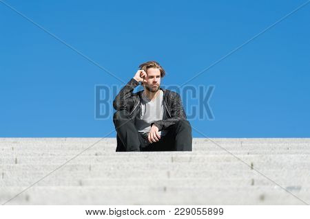 Macho Sit On Stair On Sunny Blue Sky, Perspective. Man On Steps, Architecture. Perspective, Future,