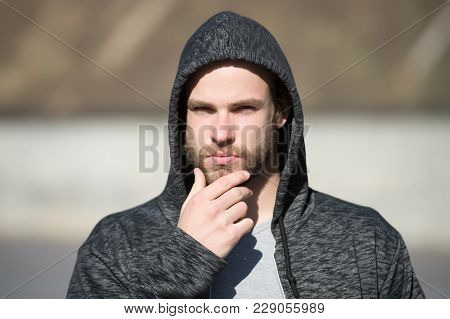 Man Touch Beard On Unshaven Face, Barbershop. Macho In Hood On Head Outdoor, Fashion. Barbershop, Ba