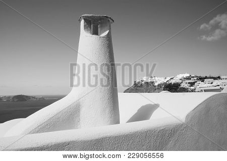 Chimney Or Ventilation System In Santorini, Greece, Building And Architecture