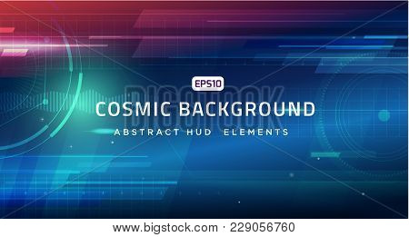 Cosmic Hud Sci-fi Interface Vector Abstract Background. Science, Tech. Print, Video