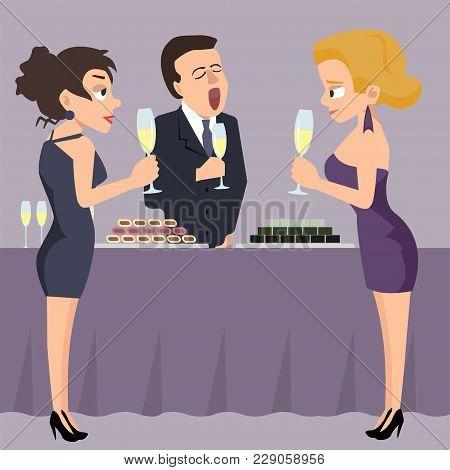 People At Reception, Women Chatting And Man Boring - Funny Vector Cartoon Illustration