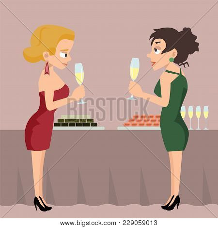Two Women With Drinks At Reception Talking - Funny Vector Cartoon Illustration