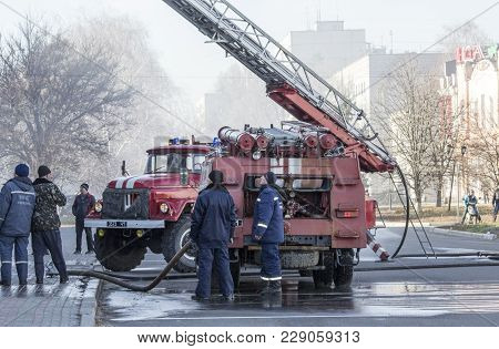Old Fire Engine, Fire Brigade. Fire Extinguishing.