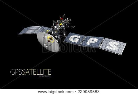 Space Satellite Orbiting The Earth. Gps Satellite Concept, 3d Illustration.