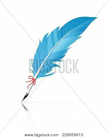 Feather Pen. Vintage Calligraphy Graphic Art Tool. Eps10 Vector Illustration Isolated On White Backg