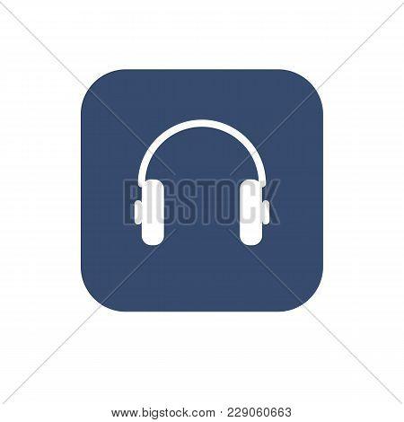 Headphones. White Elements On Dark Backgound. Flat Ui Design. Vector Illustration