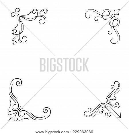 Vintage Style Design Elements Corners And Borders Set. Vector Illustration Isolated On White Backgro