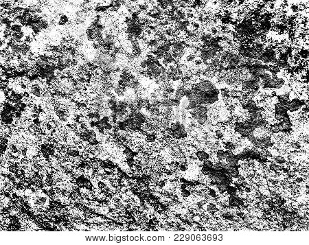Weathered Concrete Wall. Rustic Stone Grit Texture. Black Stains And Noise For Distressed Effect. Ol